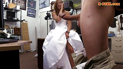 Bride to be pawns her wedding dress and nailed by pawnkeeper