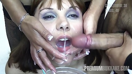 Premium Bukkake - Michelle swallows 71 huge mouthful cumshots