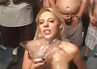 Genesis Skye the walking cum bucket takes bukkake and swallows ALOT of sperm