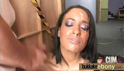 Bukkake coated ebony hottie 2