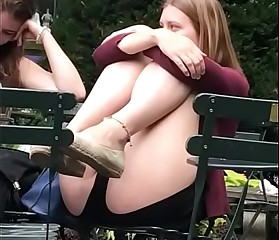 Upskirts in the park pussy lips exposed