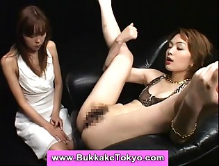 Asian cutie eating cum from pussy