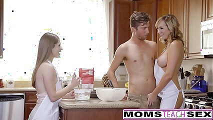 MomsTeachSex - Horny Mom Tricks Teen Into Hot Threeway
