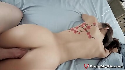 Petite Asian Stepsis Gets Her Pussy Destroyed By Big Stepbro Cock