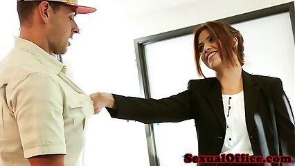 Beautiful latina bosswoman fucks delivery boy