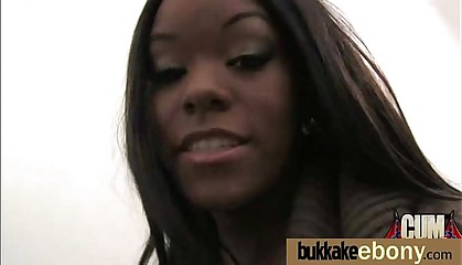 Ebony in a huge bukkake 11