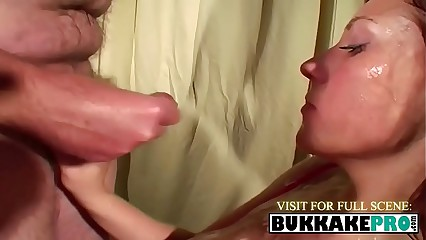 Nasty bitch loves to feel tons of cum sprayed onto her boobs