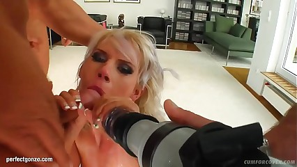 Beatrix in gonzo blowgang bukkake scene by Cum For Cover