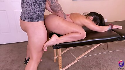 Big ass wife with rounded tits gets fucked during a massage session