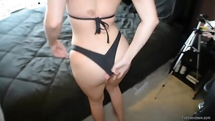 Big tits amateur brunette sucked and fucked and gets cumshot