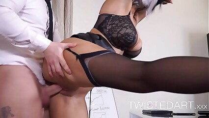 Big tits brunette babe fucked in office slut HD