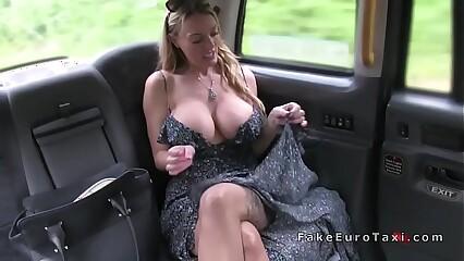 Big tits blonde drains cum in fake taxi