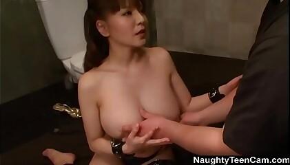 Big titted Yuki Tsukamoto jail blowjob