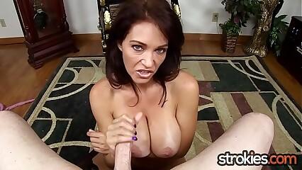 Big Tit MILF Charlee Chase Cummy Handjob