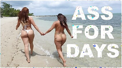 BANGBROS - Latina Lesbians Spicy J & Miss Raquel's Asstastic Day At The Beach