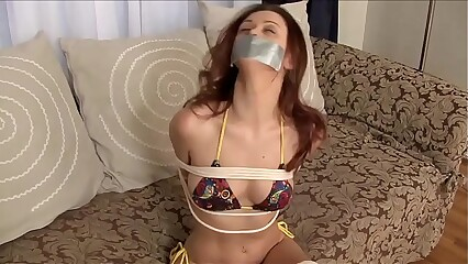 Karlie Montana Tied Up, Tape-Gagged in a Hot Bikini