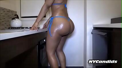 BigAss Brunette Bikini Sexy Thong