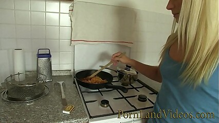 blonde girlfriend fucked in the kitchen