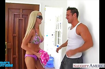 Blonde babe Nikki Benz gives blowjob in POV style
