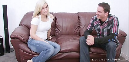 Cute blonde strips her clothes off before fucking