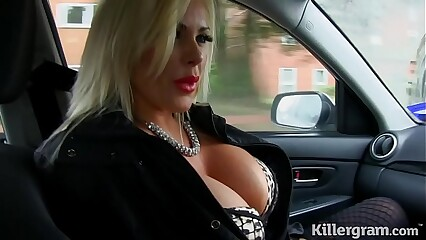 Sexy blonde big boobs Milf fucks taxi driver
