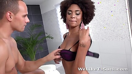 Blowjob fun for Brazilian masturbating her cum covered pussy!