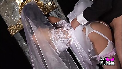 Horny bride gets a hard fuck