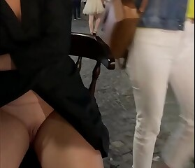 Wife spreads legs to show pussy for turists