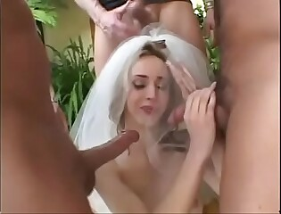 Sluty  bride gang-banged