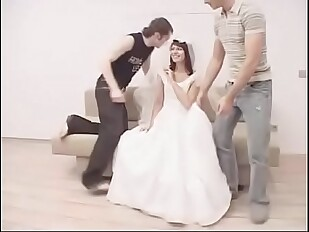 Redhead bride forced by two man