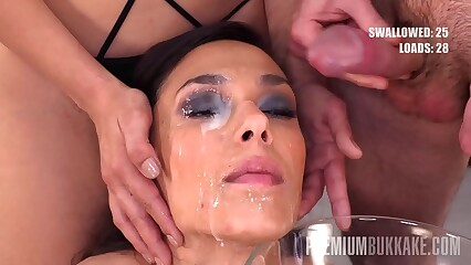 Premium Bukkake - Ashley Ocean swallows 39 huge mouthful cum loads