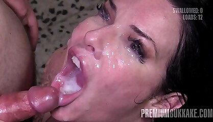 Premium Bukkake - Veronica Avluv swallows 61 huge mouthful cumshots