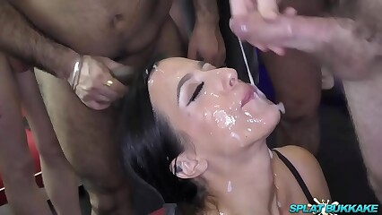 Sexy Skyler gets a face full of bukkake cum