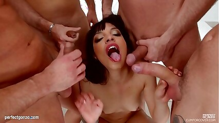 Mathilde Ramos group bukkake blowbang swallow scene by Cum For Cover