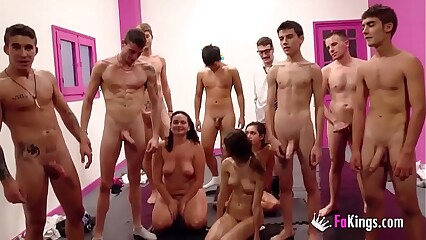 Jordi and all of his friends FAKings school make cum rain on Ainara and friends!