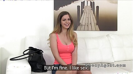 Natural busty blonde sucks in fake casting