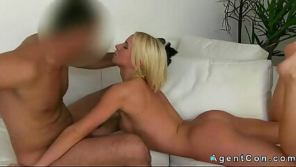 Hot blonde amateur gets facial on casting