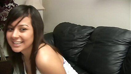 BRUNETTE WITH NICE TITS SWALLOWS A HUGE WANG ON CASTING COUCH