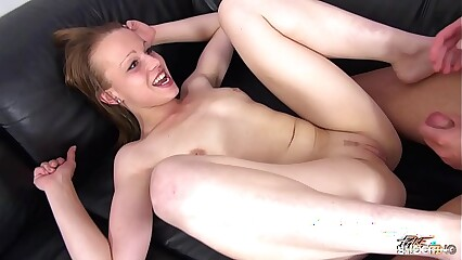Skinny Teen Rebecca cheated on casting & spread legs for stranger