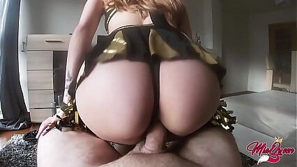 Slutty cheerleader fucks me for money and I came inside - POV CREAMPIE