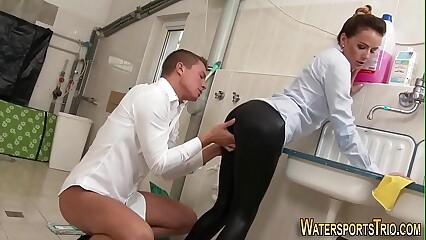 Odd pissing slut banged