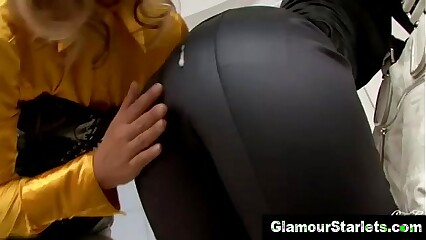 Threeway clothed hoes suck on cock