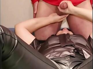 Cum on clothes handjob