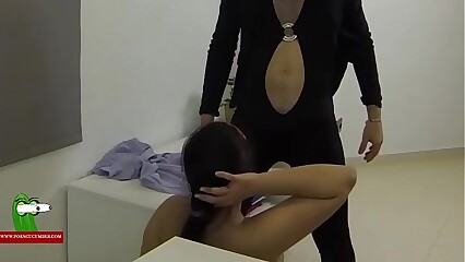 He is wearing woman's clothes and she gets really horny. SAN233