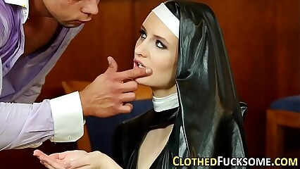 Clothed european nun cum