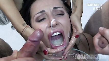 Premium Bukkake - Linda swallows 73 huge mouthful cumshots
