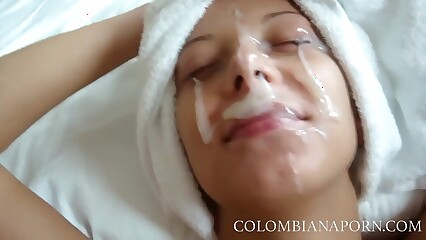 Facial Cumshot Colombian girls Amateur compilation ... full videos @