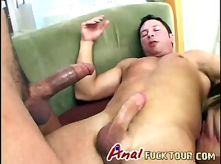 Double penetration brunette hottie fucks threesome