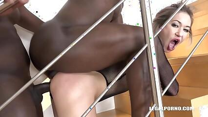 XXXtreme interracial double penetration fucking of horny blonde Nikki Dikki