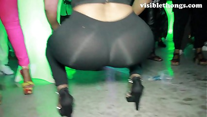 See-through leggings visible thong booty 12